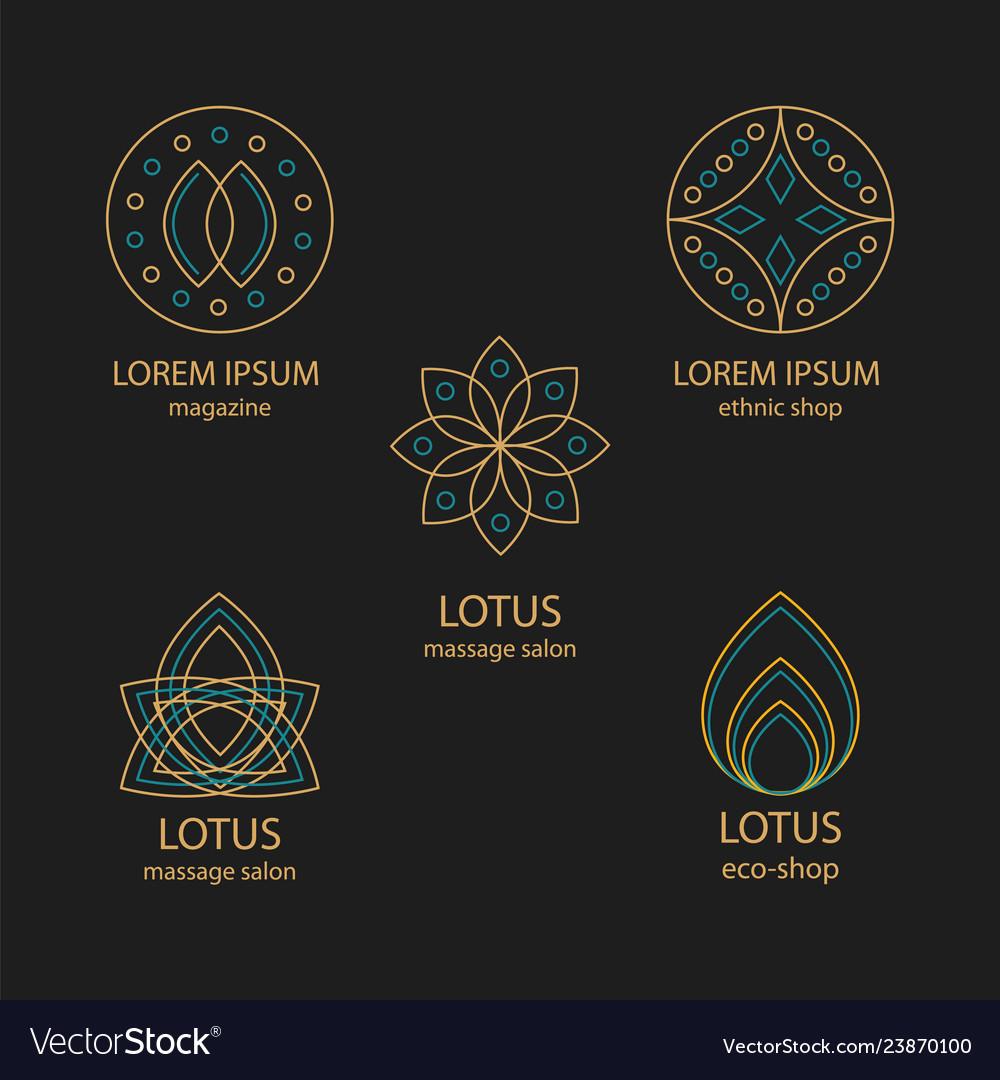 Set of geometric design logos and monograms
