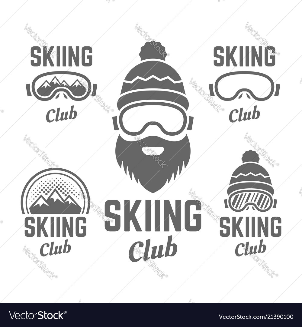 Skiing club isolated badge or emblems