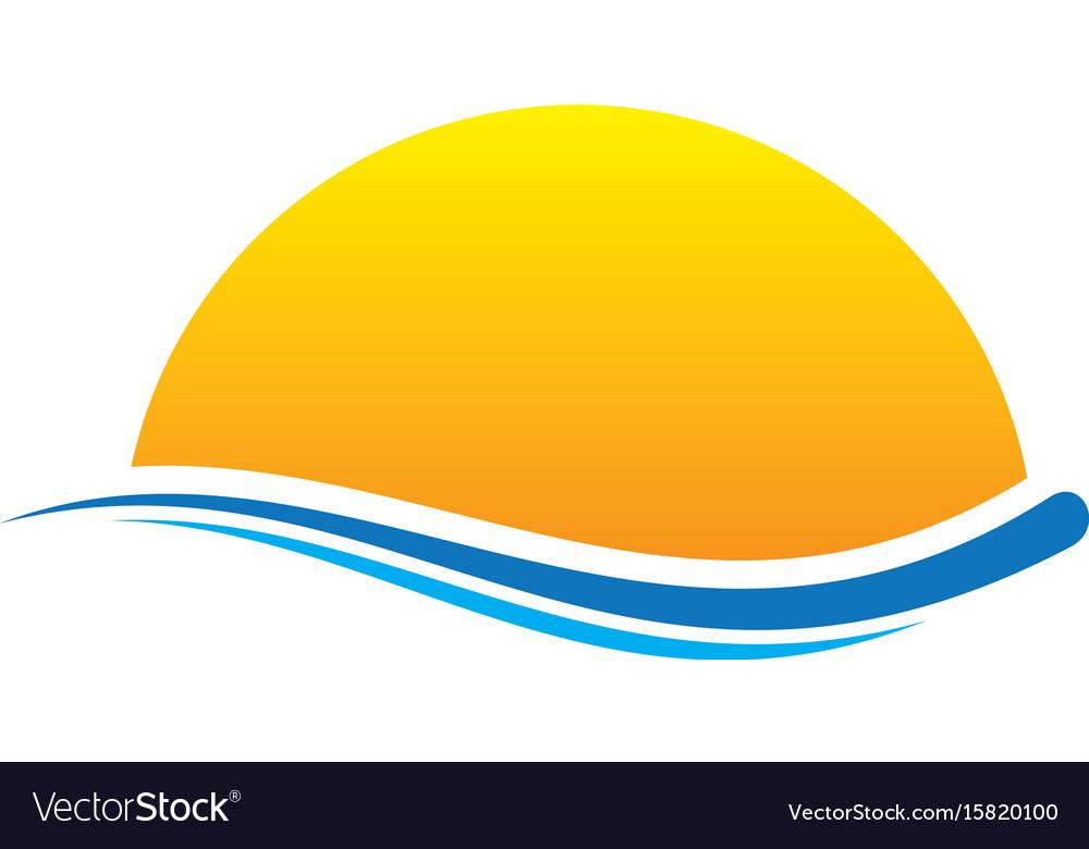 Sunset wave icon logo