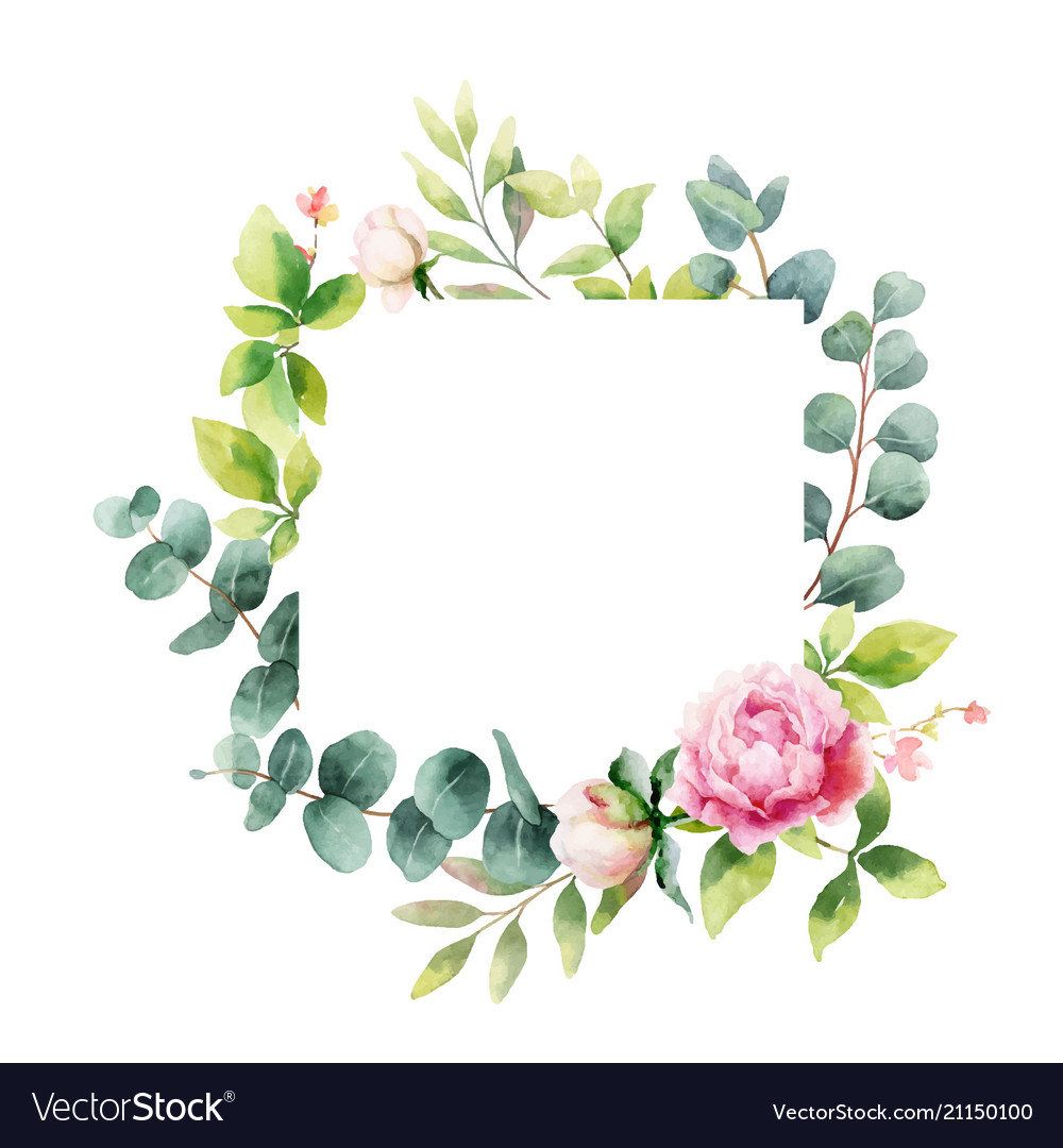 Watercolor hand painting wreath of peony