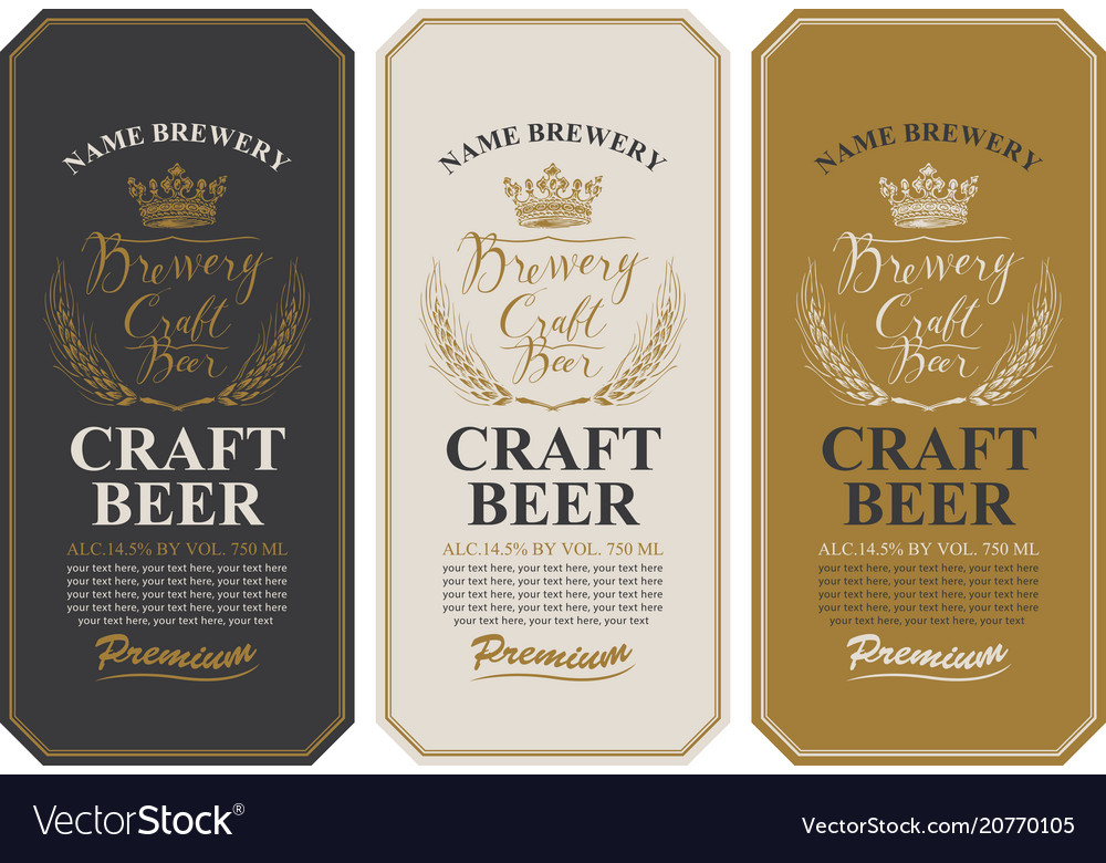 Beer labels with wheat ears and inscriptions
