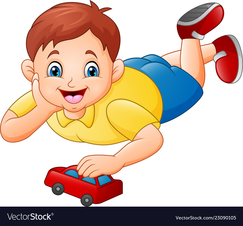 Cute Little Boy Playing Red Toy Car Royalty Free Vector