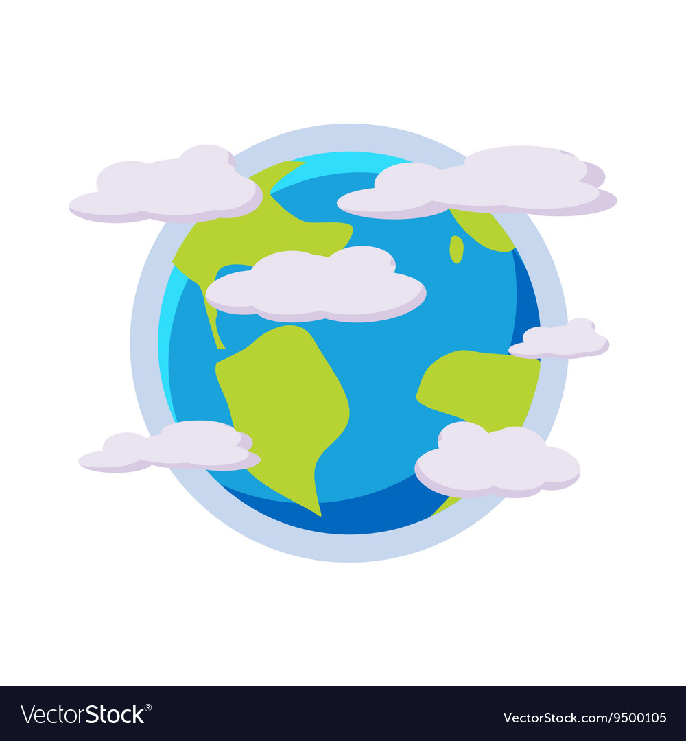 Earth planet in the clouds icon cartoon style