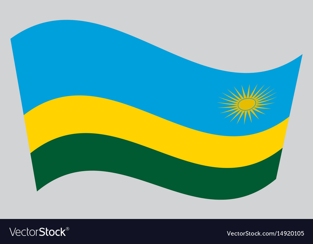 Flag of rwanda waving on gray background vector image