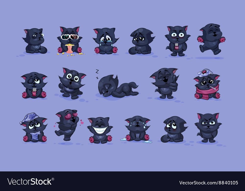 Isolated Emoji character cartoon black cat vector image