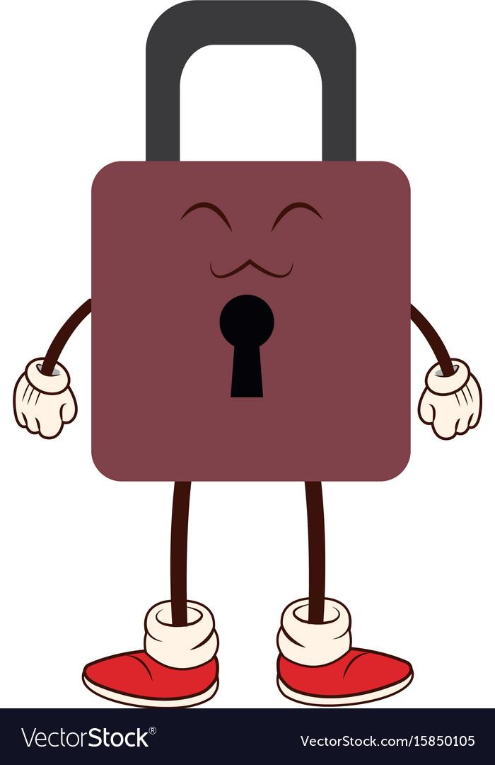 Kawaii padlock security protection cartoon