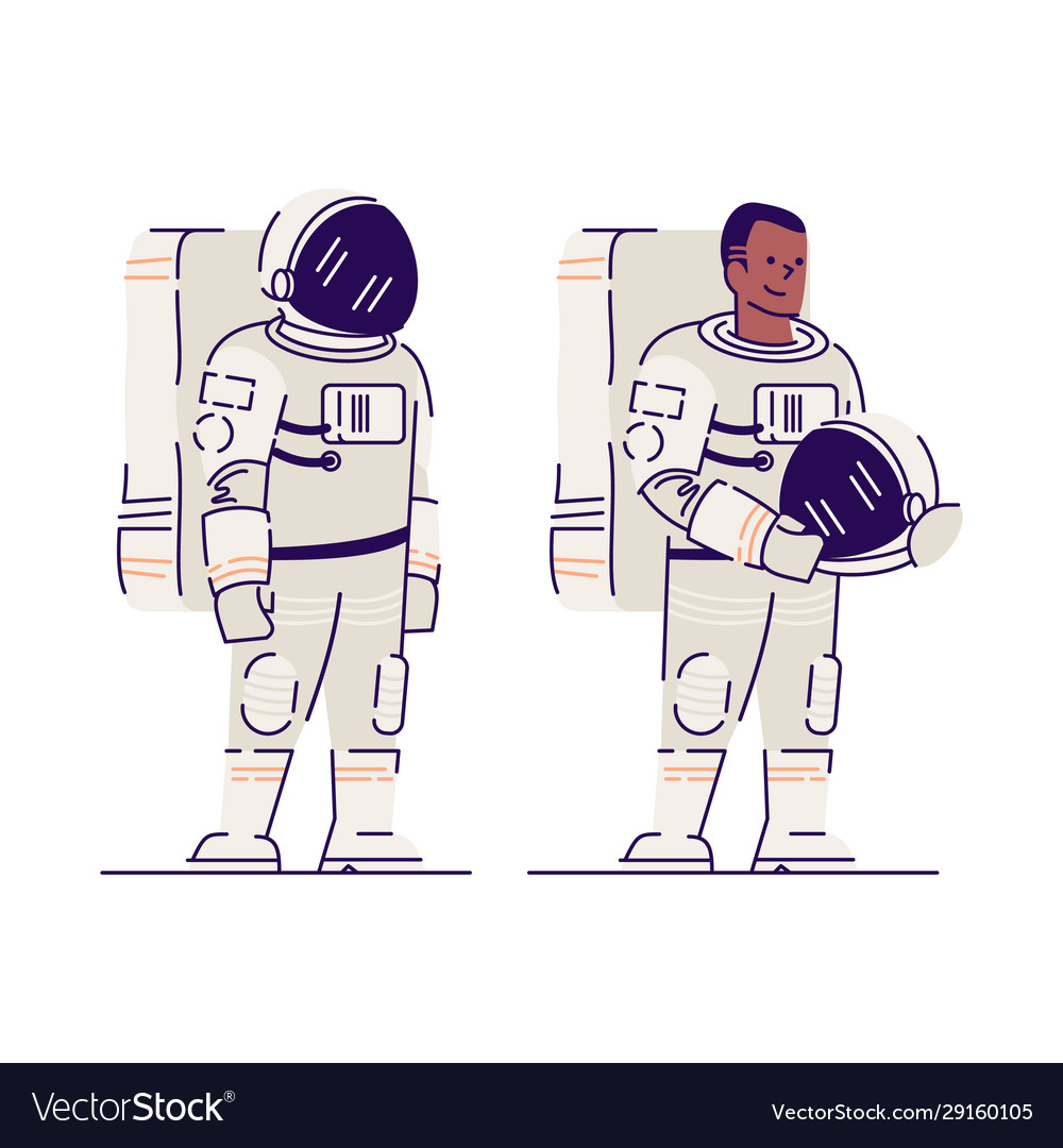 Male astronaut with helmet flat smiling afro