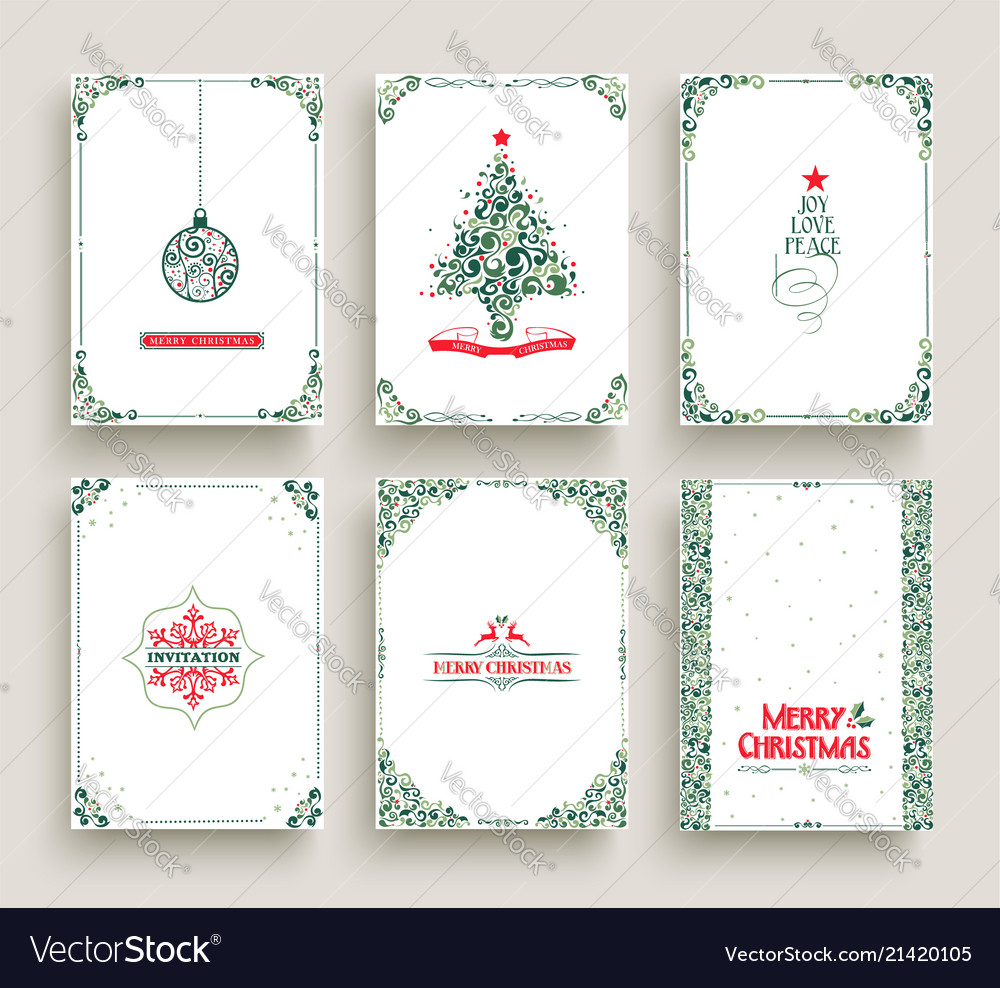 Christmas Card Templates.Merry Christmas Card Set Template In Vintage Style
