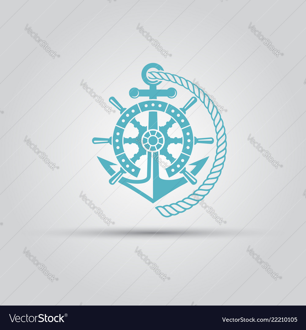 Nautical emblem with anchor rope isolated