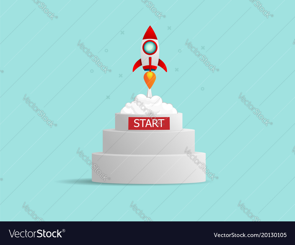 Rocket startup launch from podium business vector image