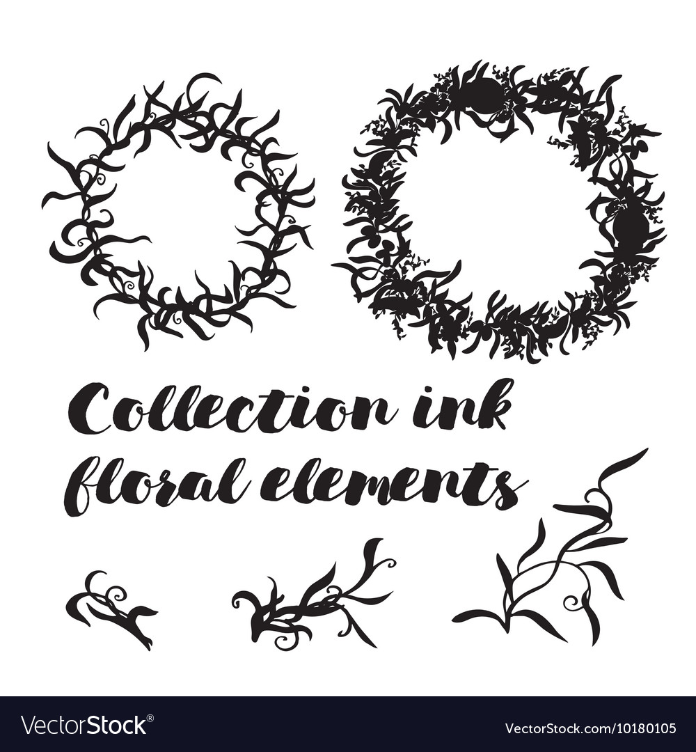 Set of floral ink elements with wreath
