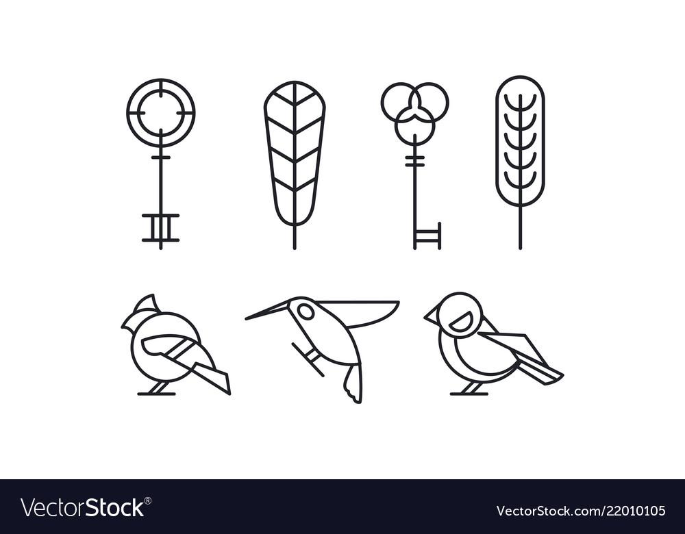 Set of keys leaves and birds hummingbird
