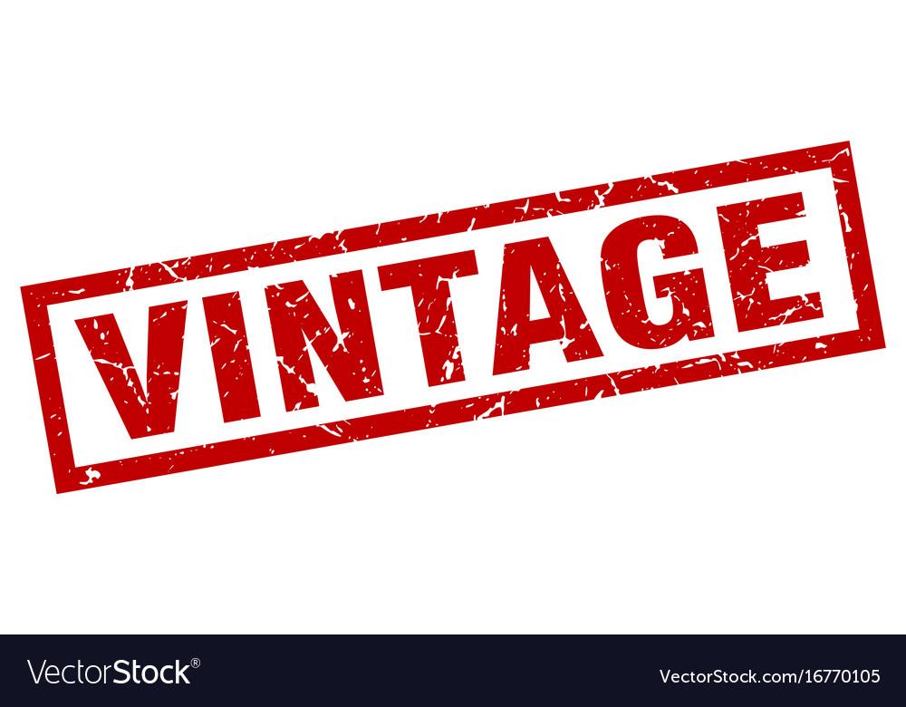 Square grunge red vintage stamp