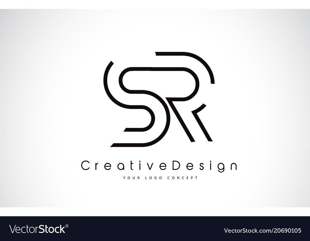 Sr S R Letter Logo Design In Black Colors Vector Image