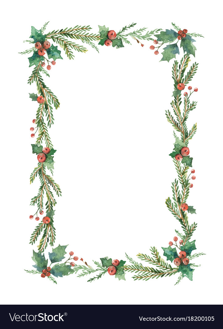 Watercolor christmas frame with fir