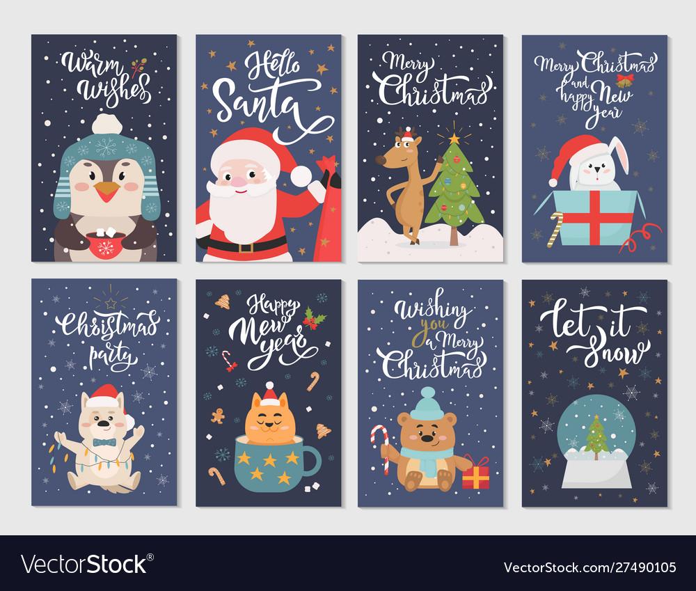 Winter season flat cartoon characters postcards