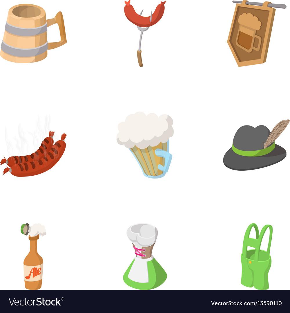 Alcohol icons set cartoon style Royalty Free Vector Image e2ac82e7067f