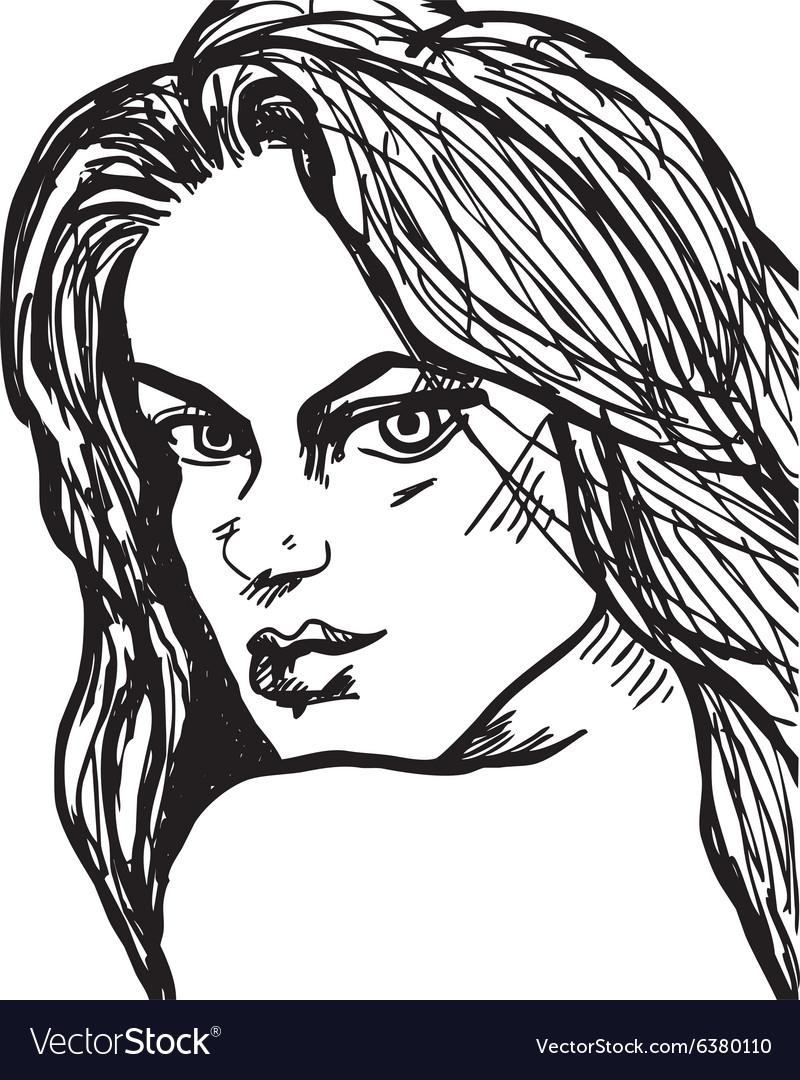 Beautiful woman face drawing vector image
