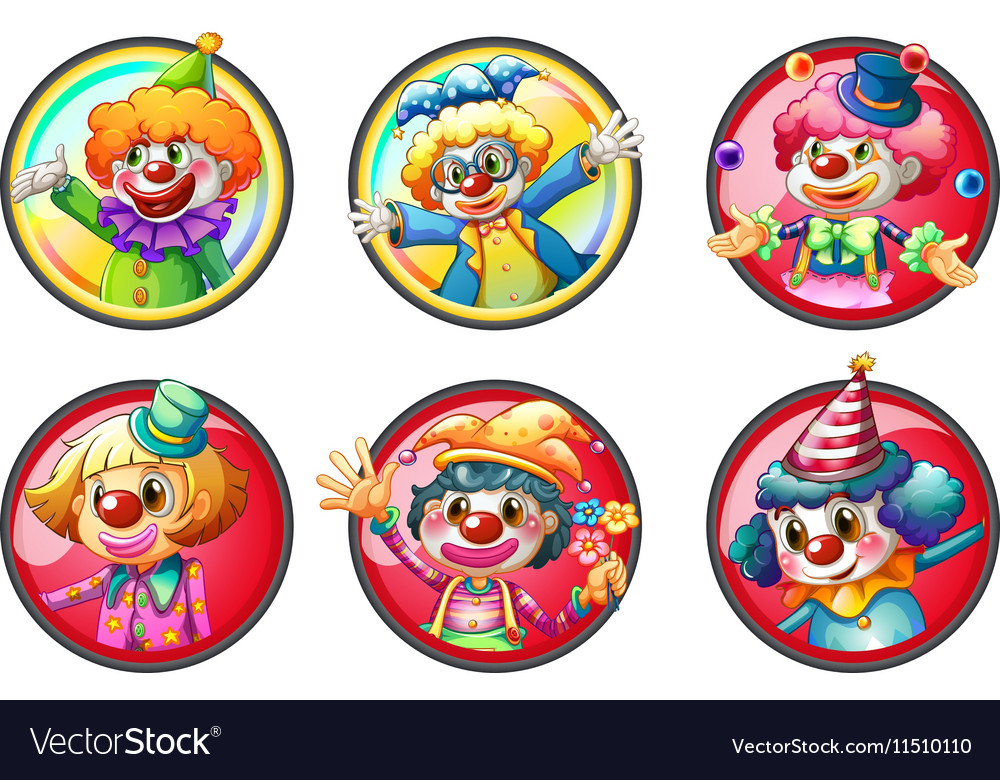 clown characters on round badges royalty free vector image
