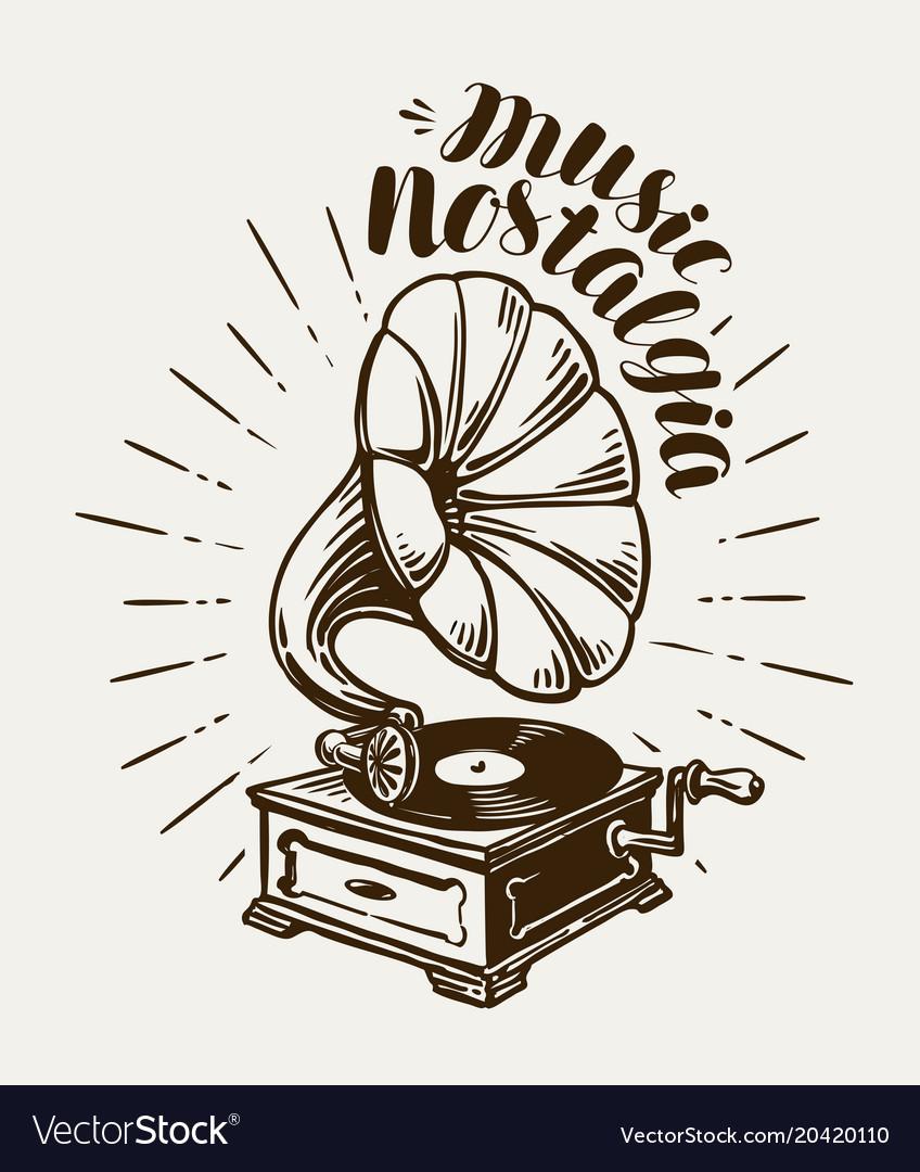 Gramophone phonograph record-player sketch