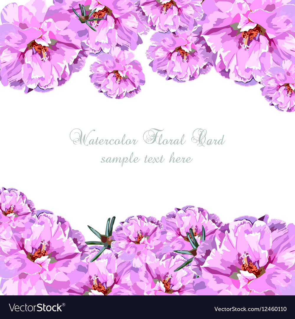 Greeting card with pink watercolor flowers