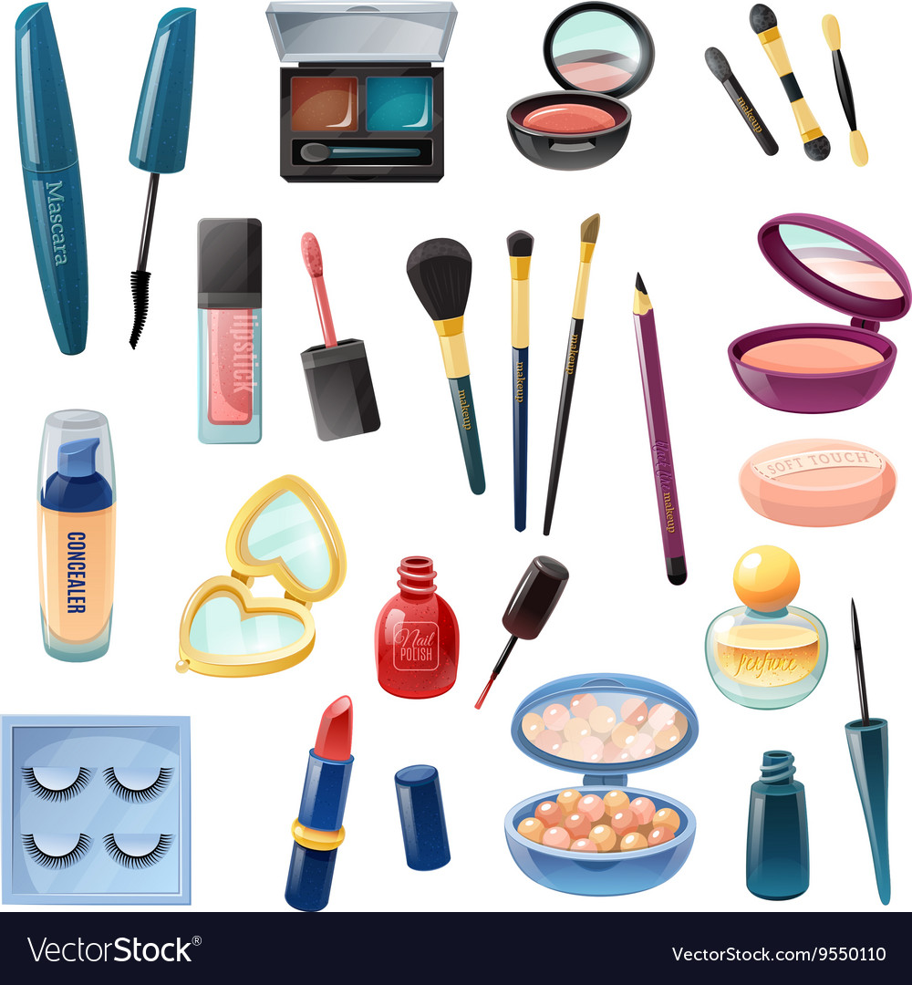 Ladies Cosmetics Make-up Realistic Set vector image