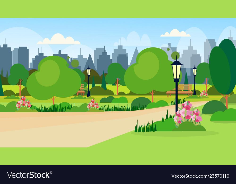Landscape of city public summer park scene wooden