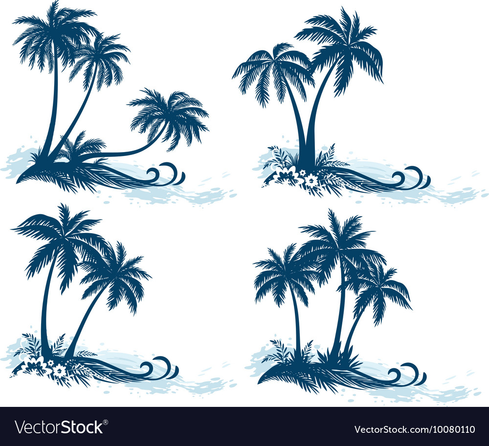 Landscapes Palm Trees Silhouettes vector image