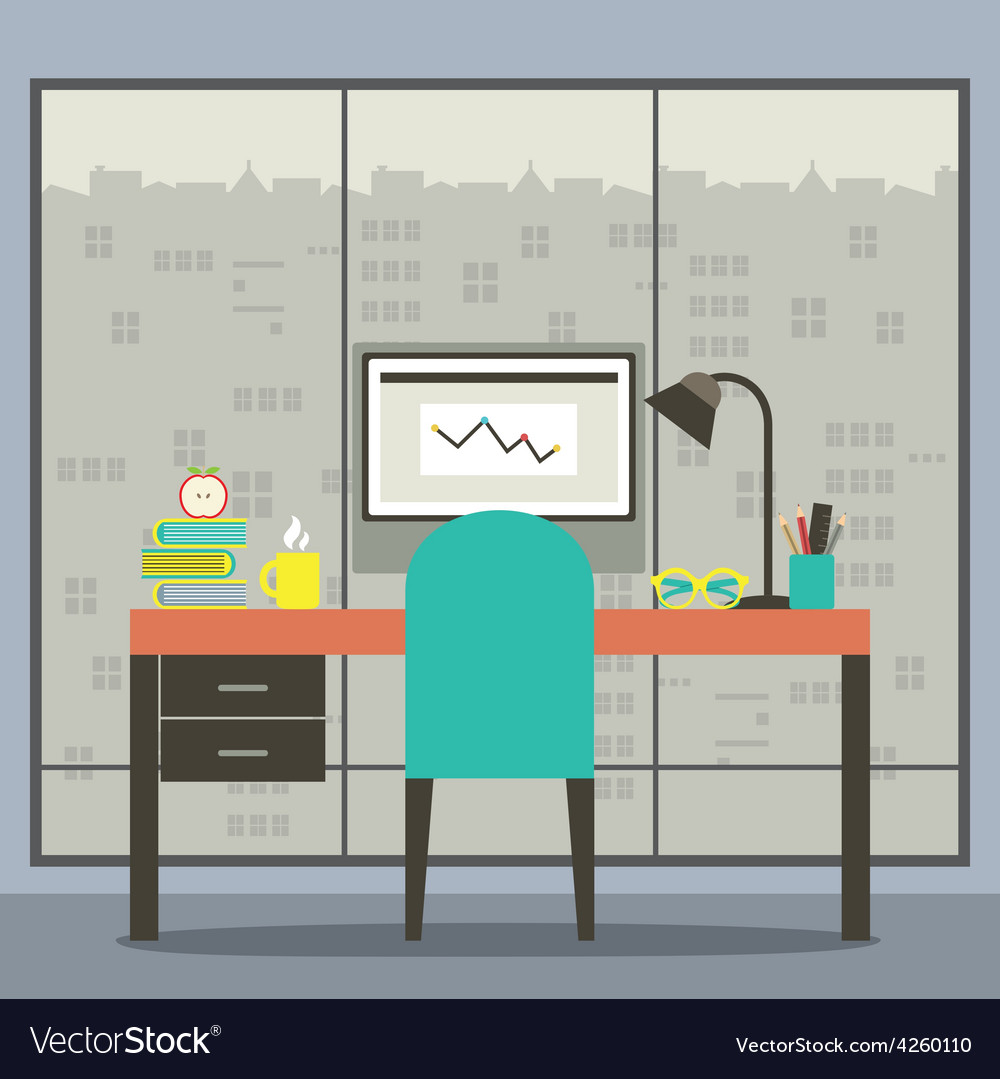 Modern Flat Design Workplace With Skyscraper View