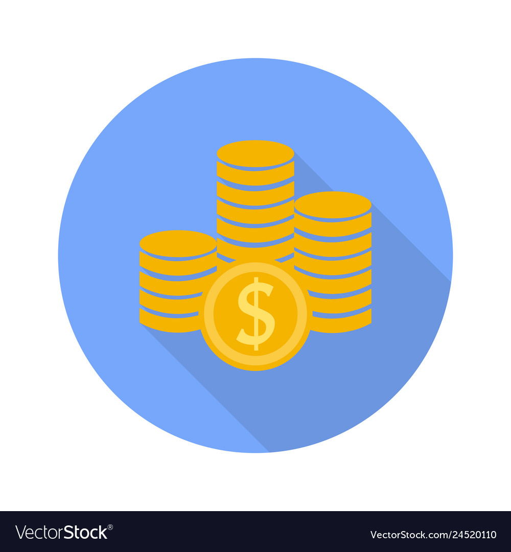 Money symbol icon on white background with shadow