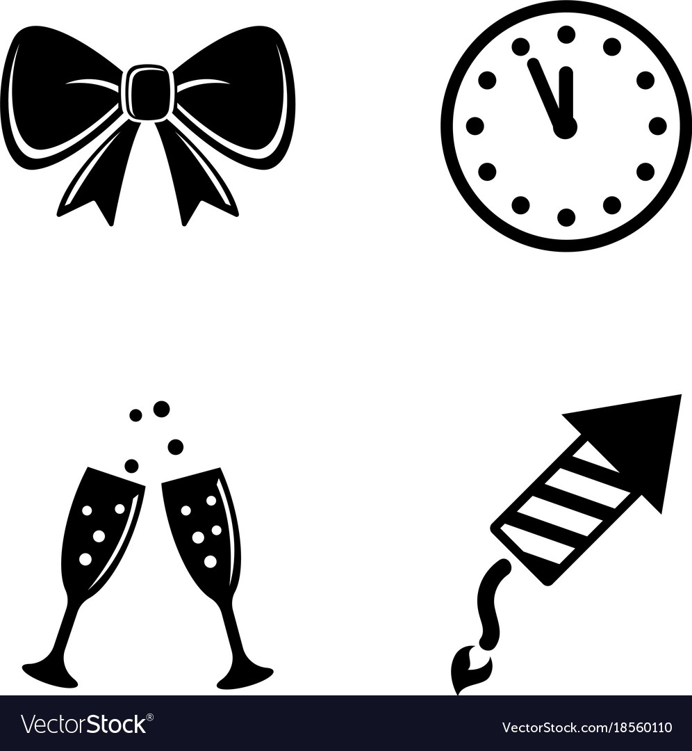 New year simple related icons
