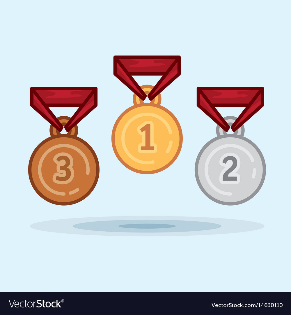 Set medal winner award vector image