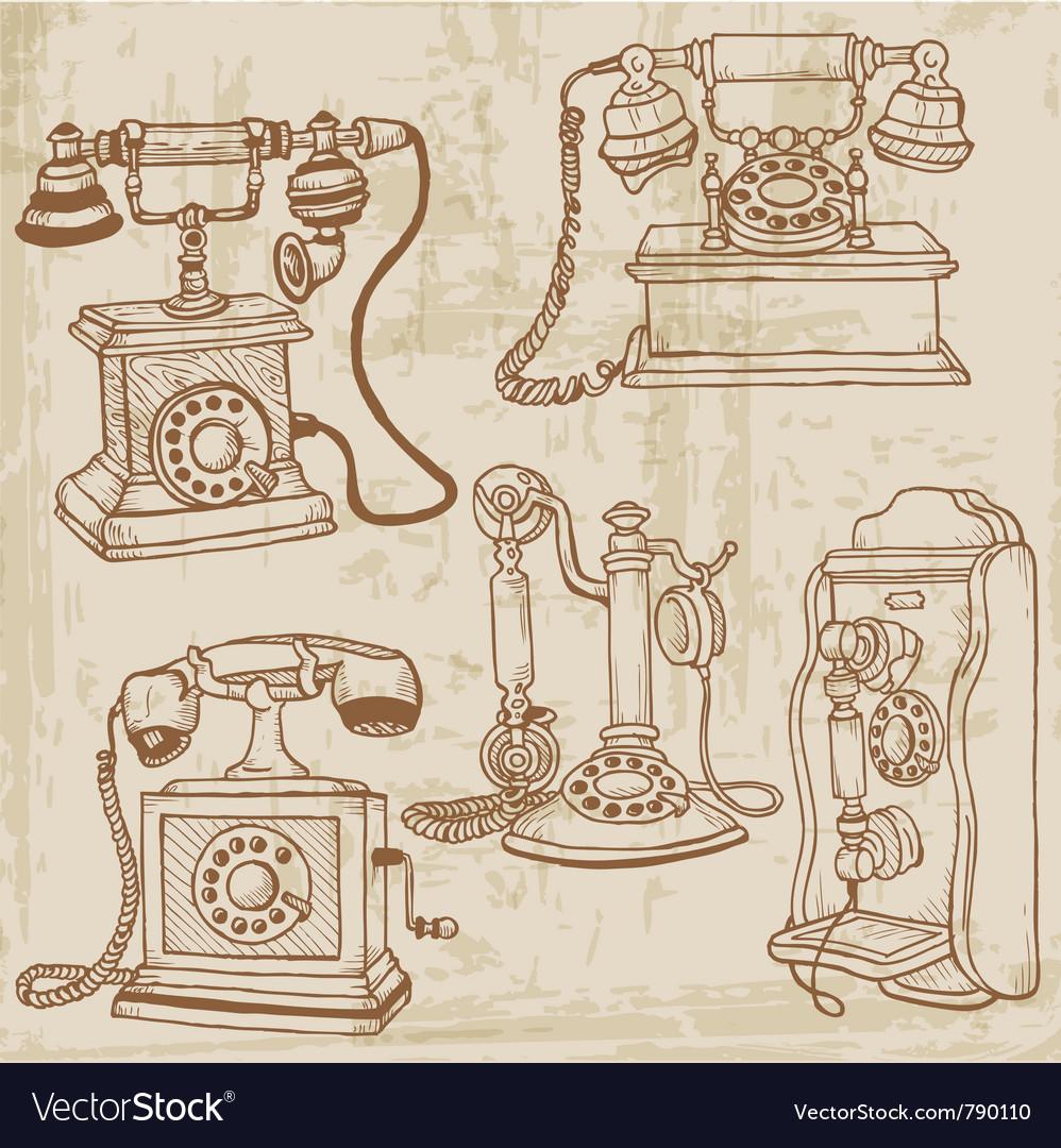 Vintage telephones set vector image