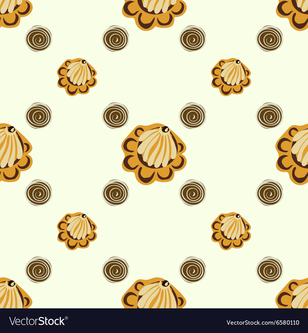 Yellow seashells or flowers seamless pattern