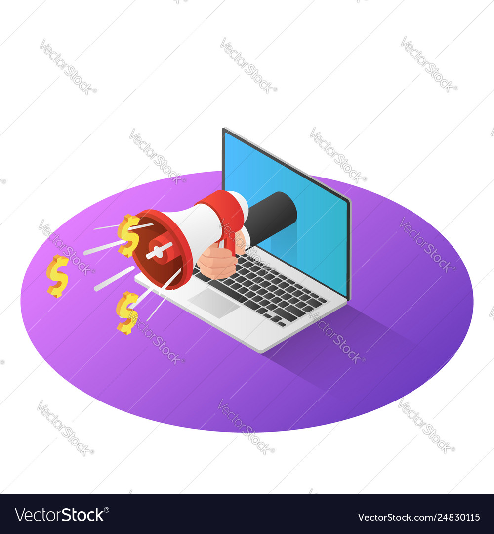 3d isometric businessman hand with megaphone come