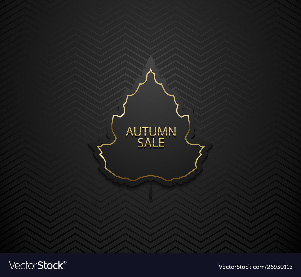 Autumn sale luxury banner golden text and