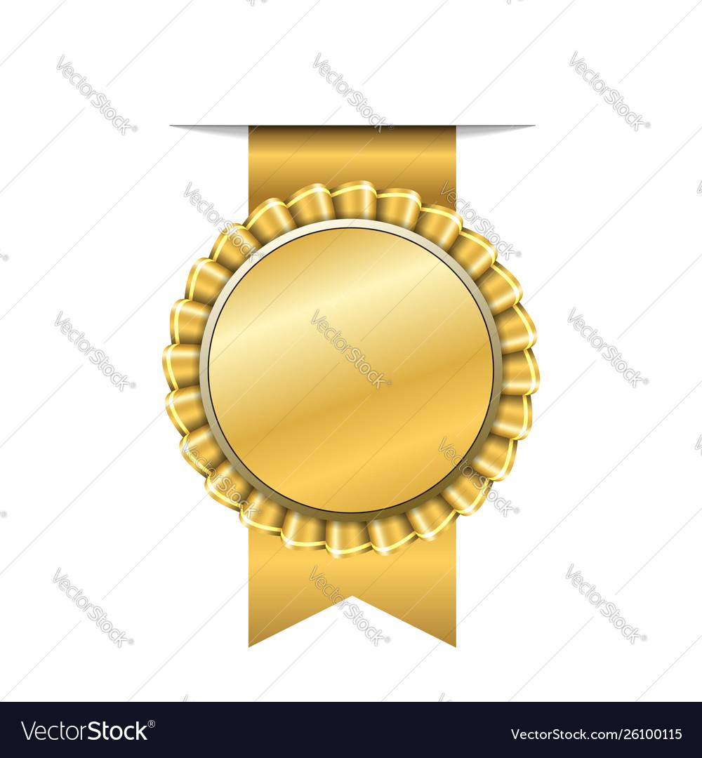 Award ribbon gold icon golden medal design