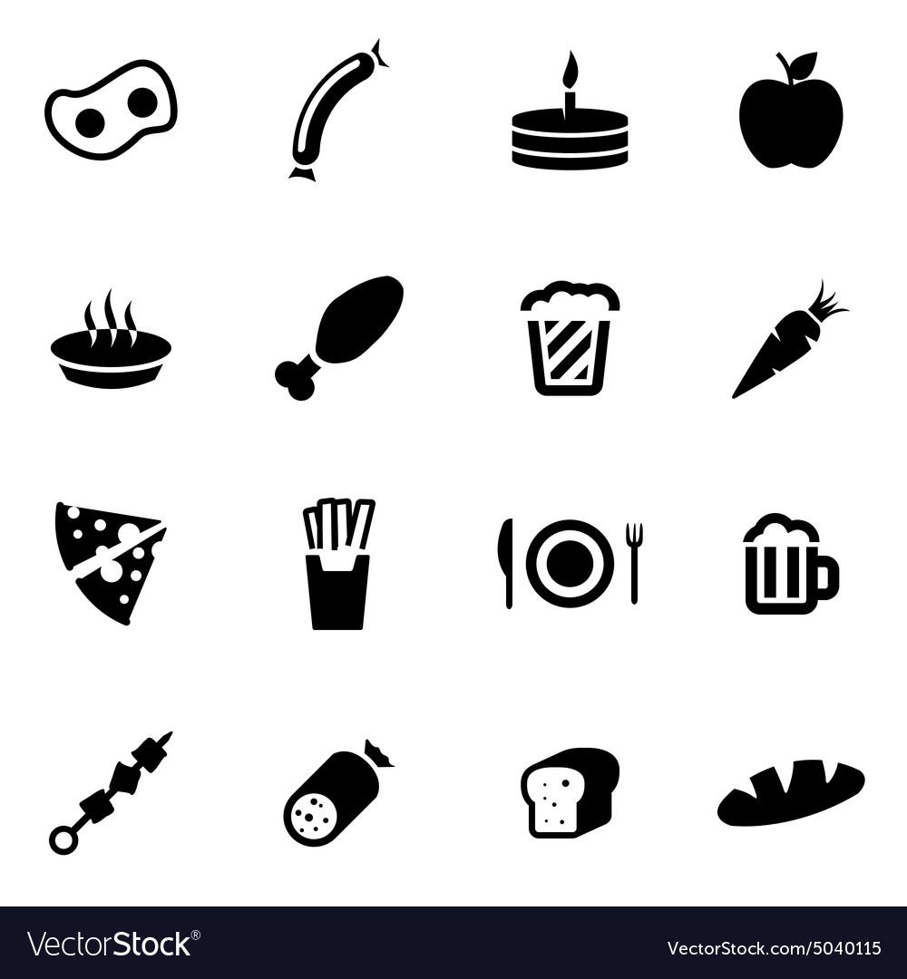 Black food icon set