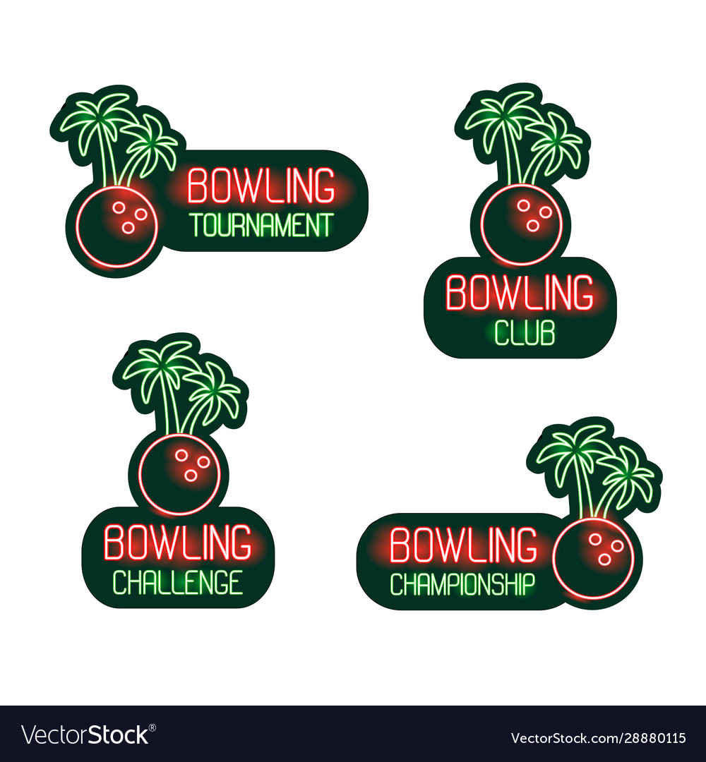 Bowling set neon signs club tournament vector
