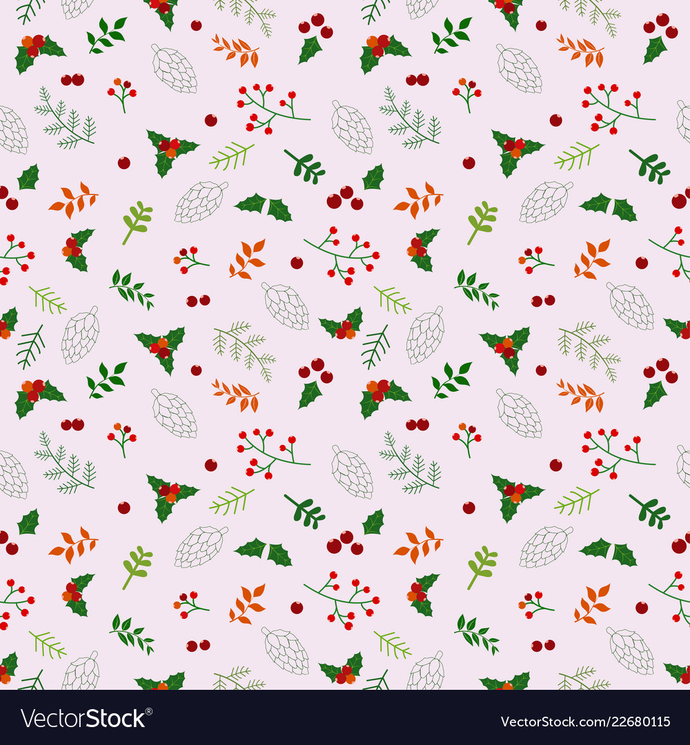 Christmas holiday seamless pattern with flowers