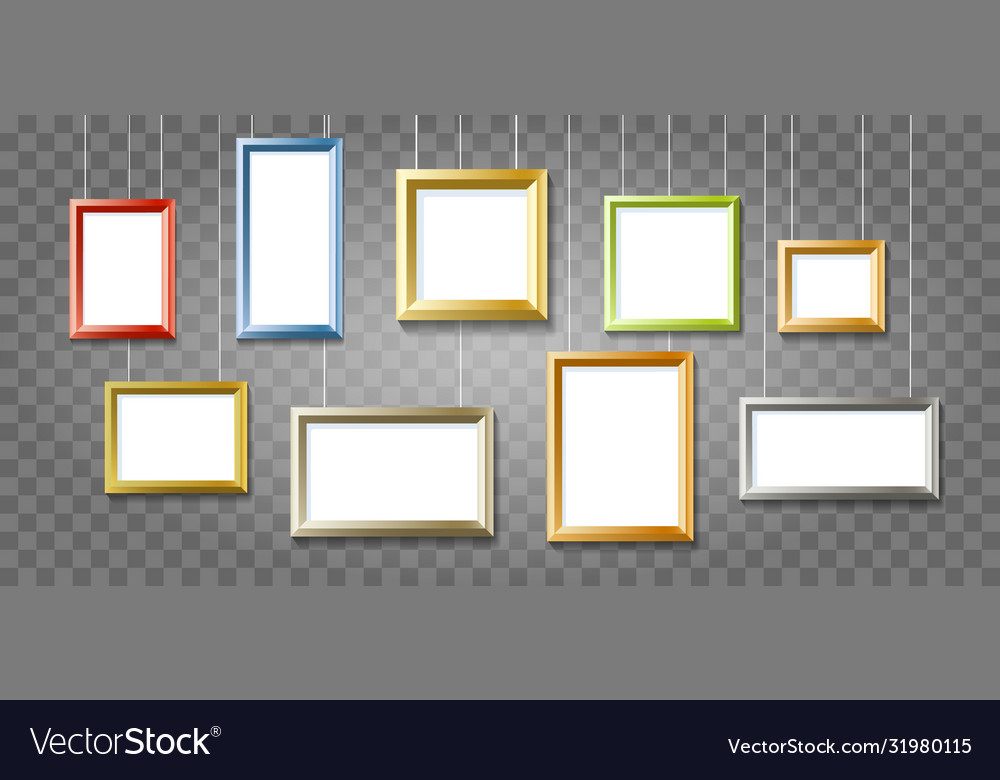 Colorful picture frames on transparent background