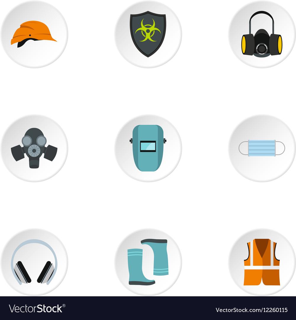 Construction ground icons set flat style
