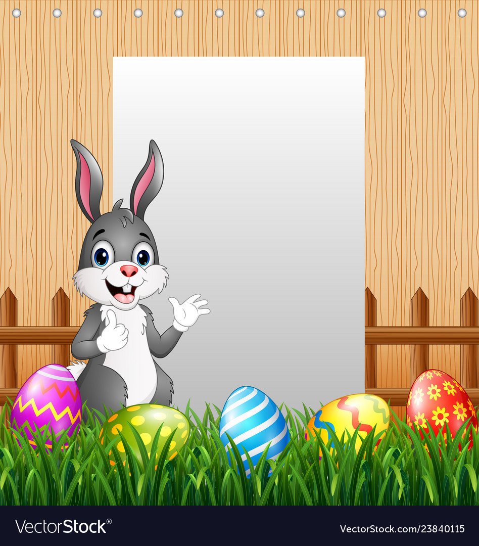 Easter Bunnies With Blank Sign Background Vector Image