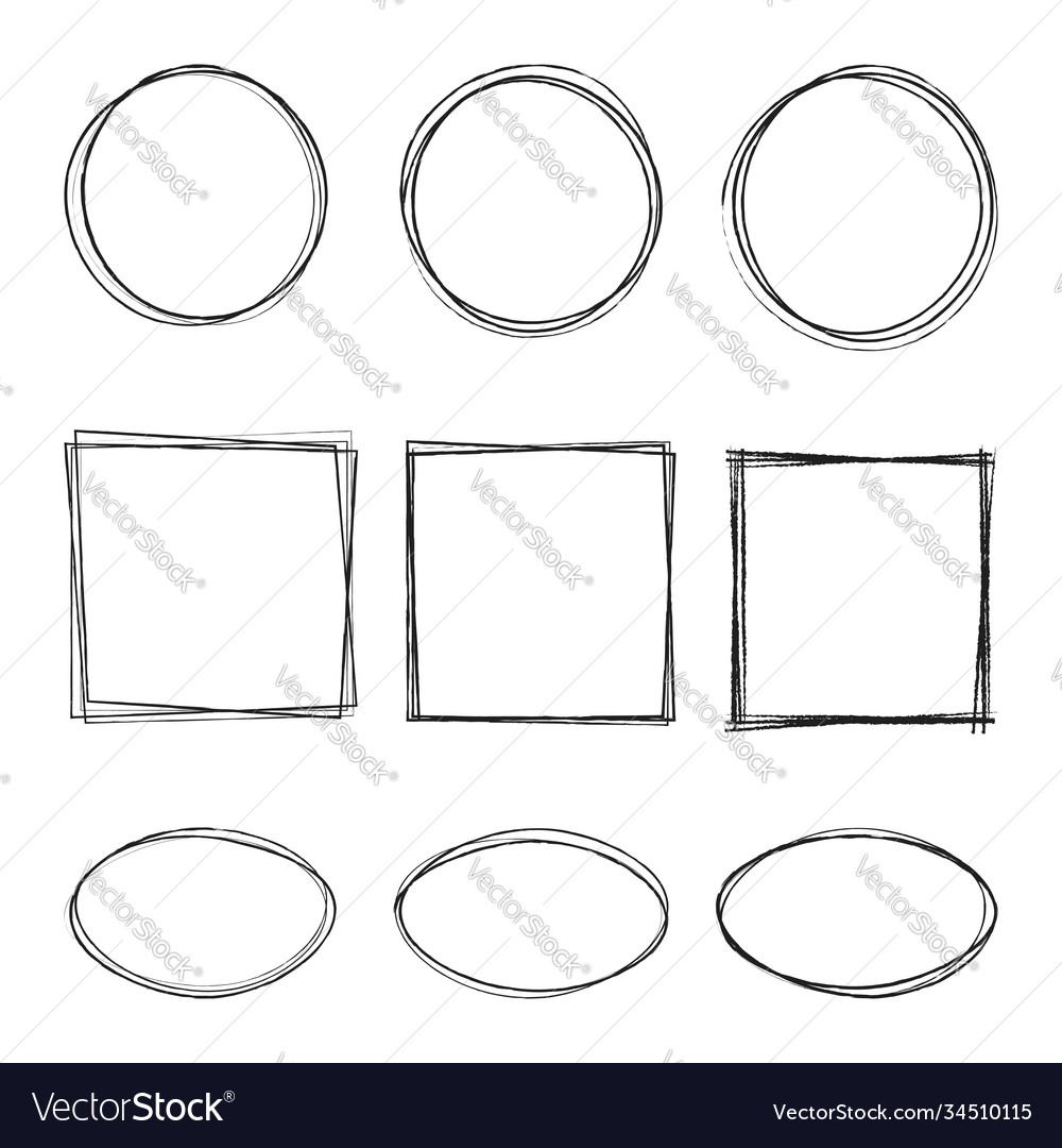 Hand drawing circle oval square line sketch set