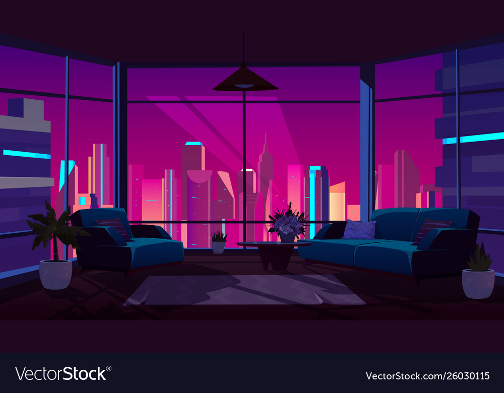 Living Room With Panoramic Window Cozy Apartment Vector Image