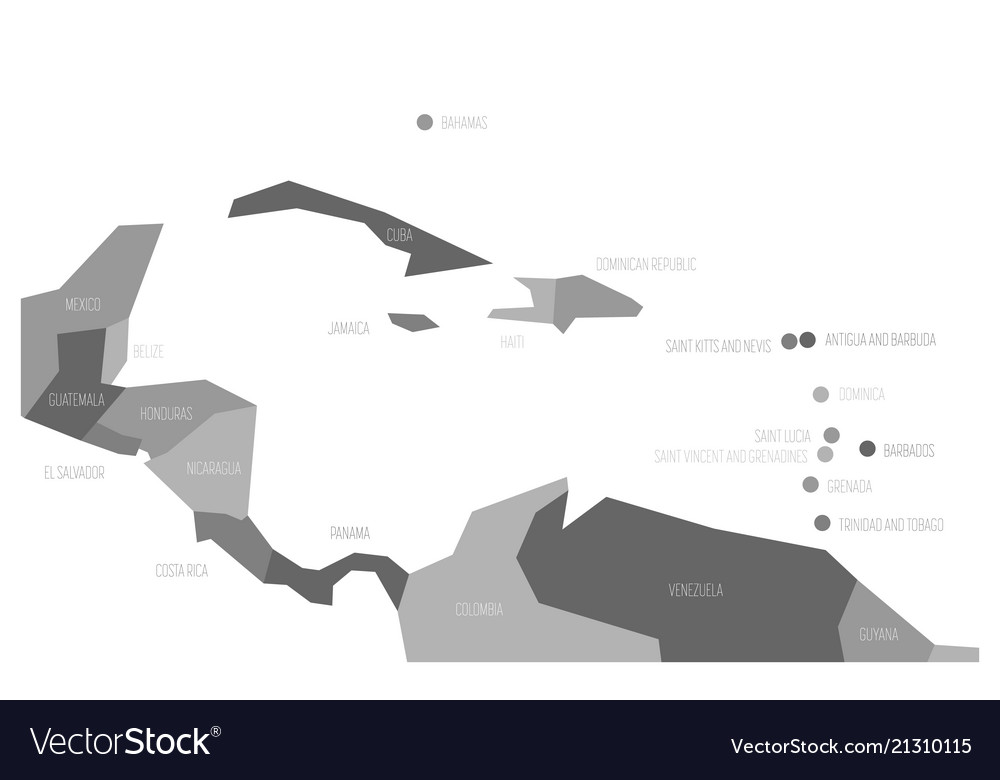 Map of central america and caribbean simlified