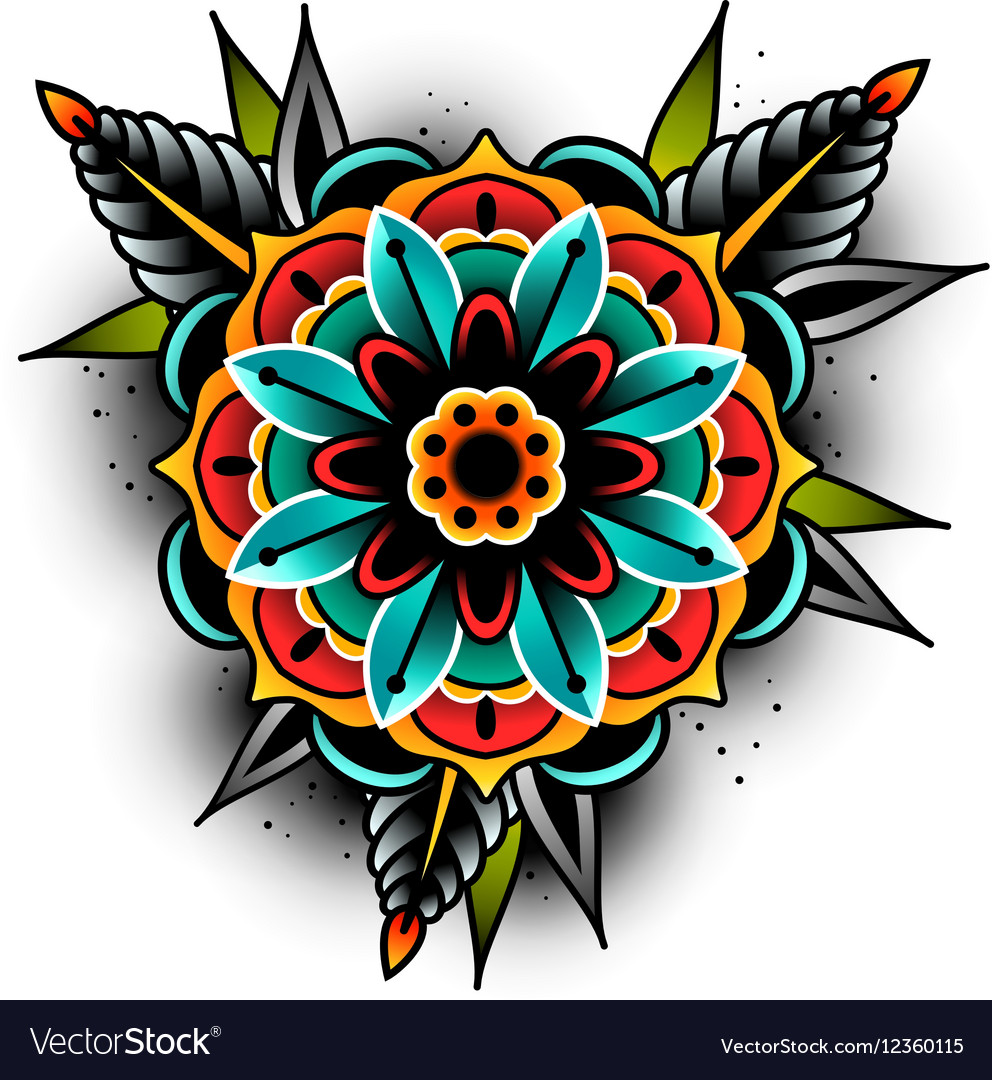 Old School Tattoo Flower Royalty Free Vector Image