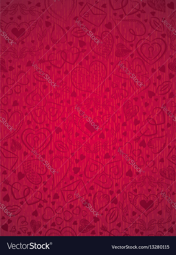 Red patterned background with valentine hearts