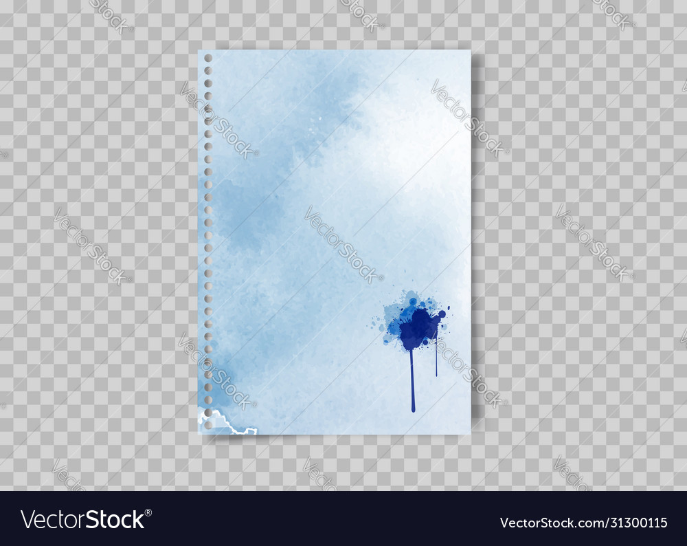 Sheet paper with watercolor blots ink stain