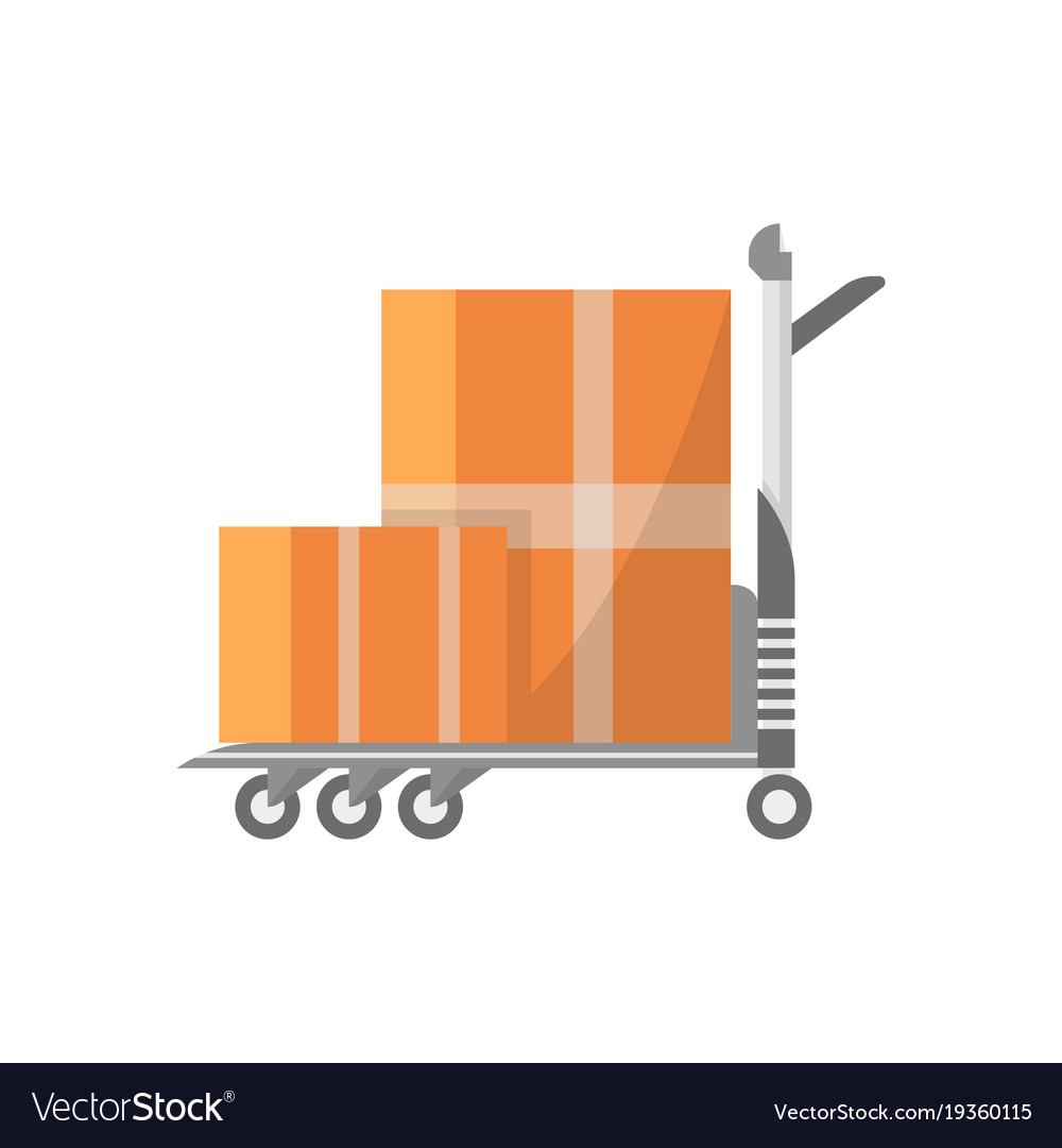 Warehouse cart with cardboard boxes icon